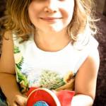 Noa and the beginnings of her tortoise cushion