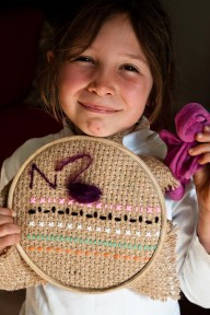 children, sewing, lesson, project, hessian, embroider, wool, craft