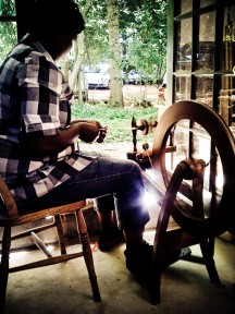 Zinzi at the spinning wheel