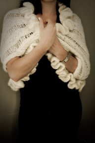 Hand knitted wool and mohair Valentina shrug