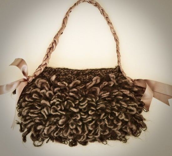 Stylish merino and mohair knit purse