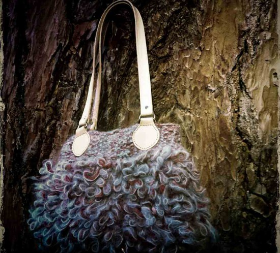 Knit wool handbag