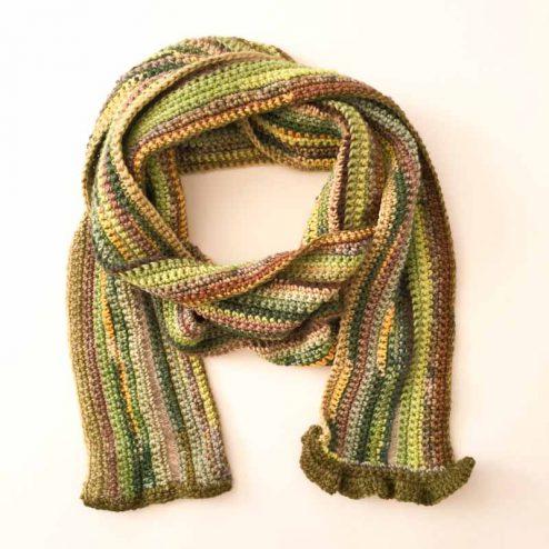 Crochet scarf from yarn scraps