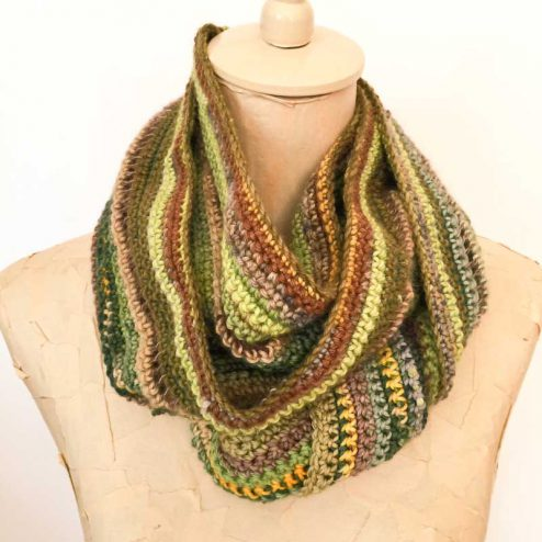 Scrap yarn crochet snood