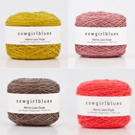 Cowgirlblues Merino Lace Single 50g yarn balls in Mustard, Faded Rose, Mushroom and Ruby Grapefruit