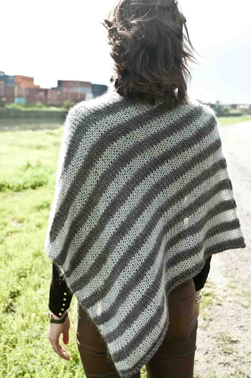 Cowgirlblues cape town free knit pattern soft stripe poncho wool mohair kidsilk