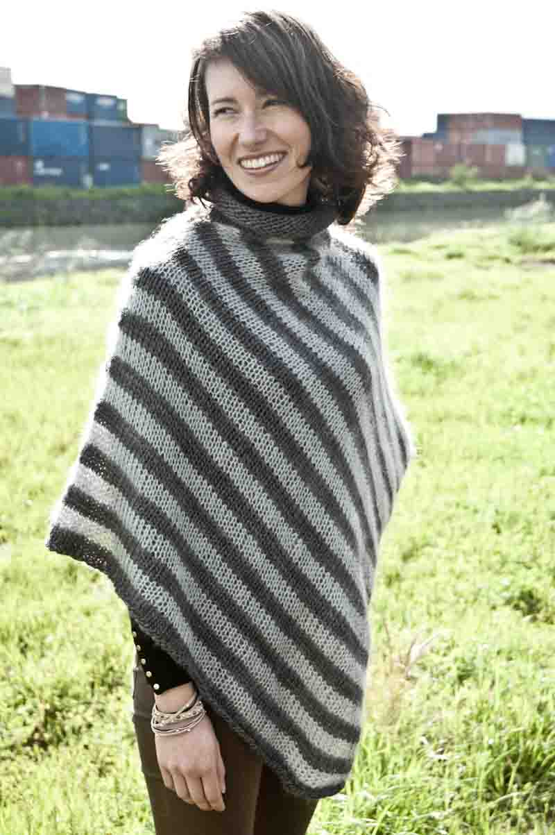 Poncho Pattern for a Soft, Stripe Knit • cowgirlblues