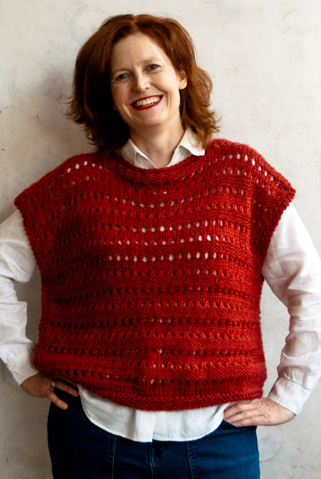 Free knitting pattern design by cowgirlblues of an easy Aran knit top
