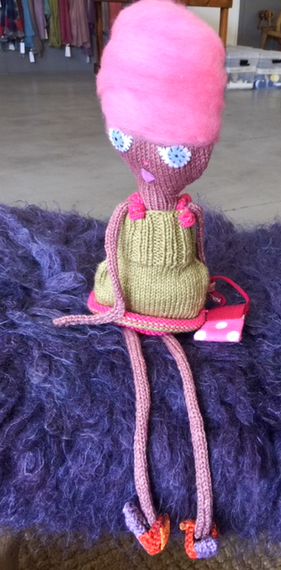 Hand knit lady doll with long skinny arms and legs knit in Cowgirlblues Merino Twist wool