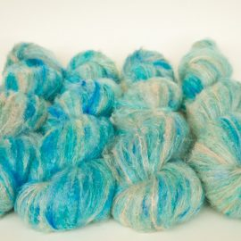 Fluffy mohair hand dyed knitting and crochet yarn by cowgirlblues