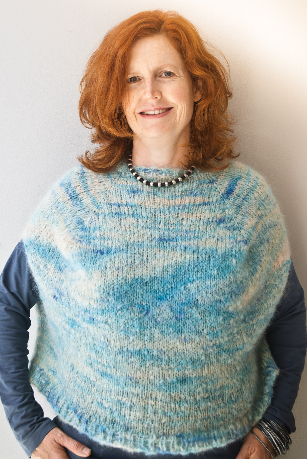 Sleeveless fluffy mohair free knitting pattern by cowgirlblues in colourway shorebreak