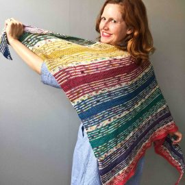 Bridget Henderson wearing the I've Got Sunshine knit shawl