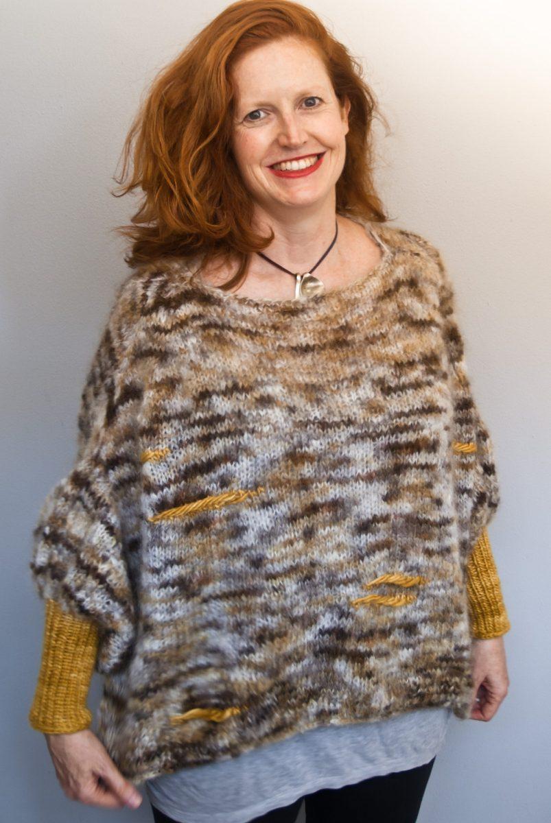 Hand knit sweater in Cowgirlblues yarn