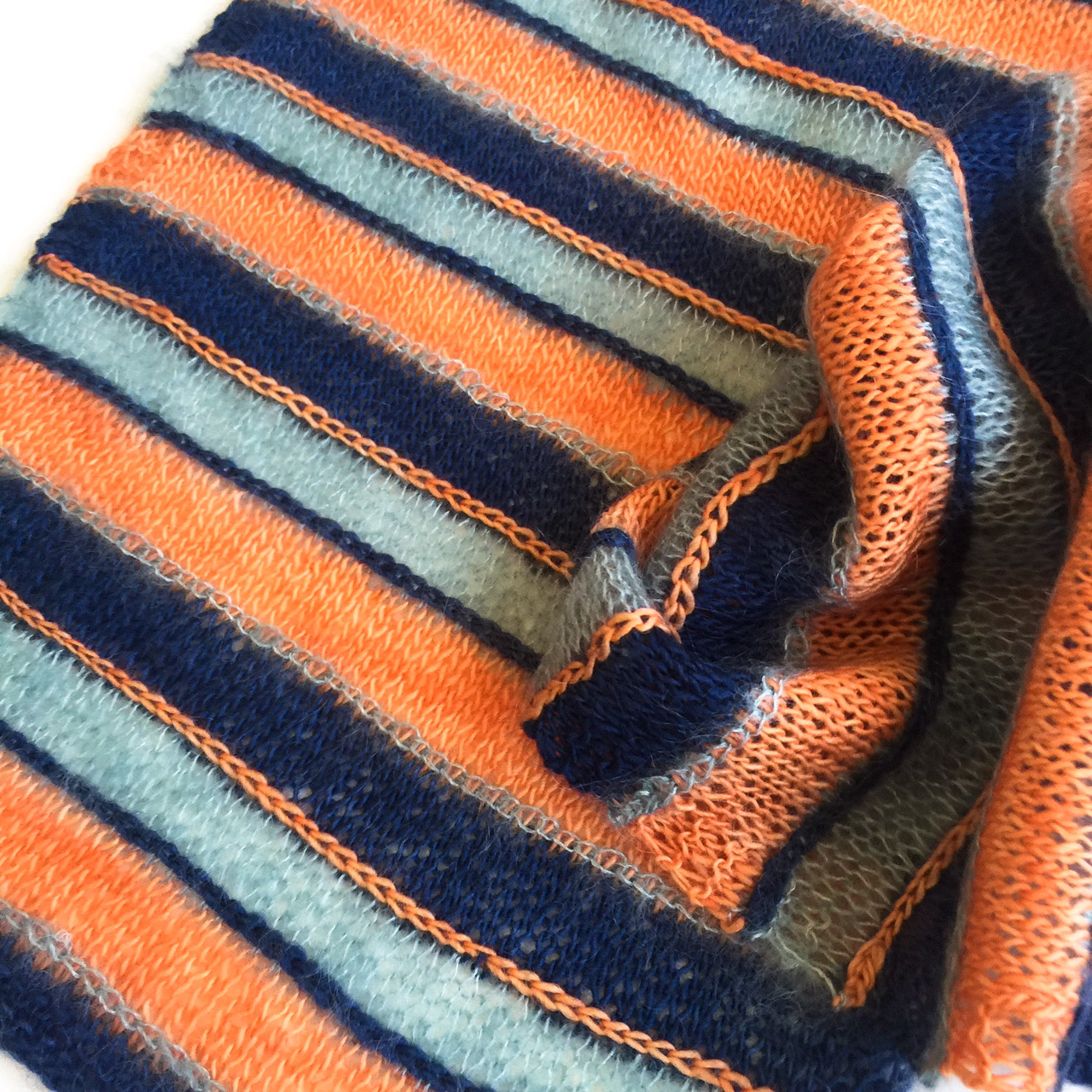 Colourful knit stripes by cowgirlblues in mohair and wool yarns