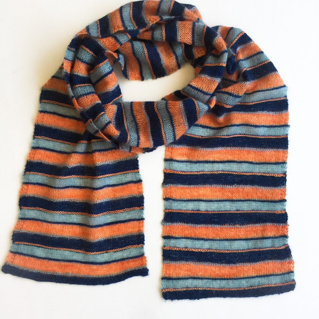 Stripe Away Scarf free knit pattern by Cowgirlblues