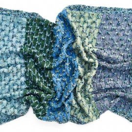 Hand knit baby blanket in Cowgirlblues Merino wool blues and greens