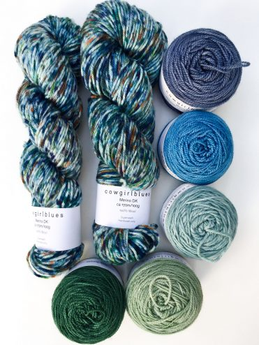 Cowgirlblues hand dyed merino wool in greens and blues