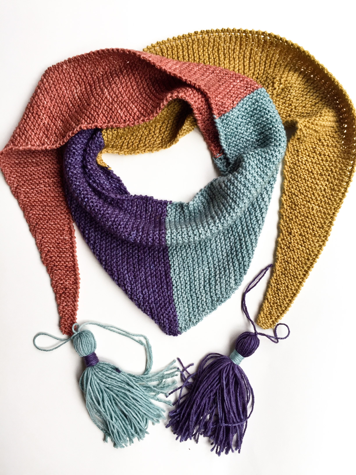 Baktus Scarf hand knit in Cowgirlbues wool Mustard, Aubergine, Celadon, Terracotta with tassels
