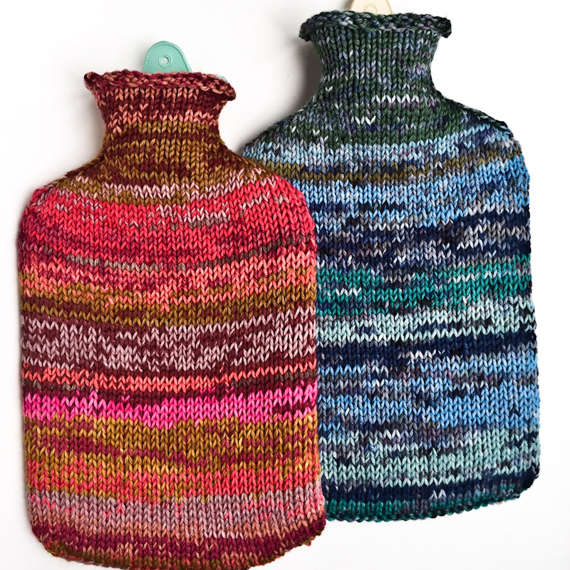 Free knitting pattern for hot water bottle cover by Cowgirlblues