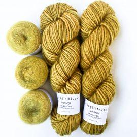 Soft Stripe Poncho Yarn kit Mustard
