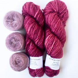 Soft Stripe Poncho Yarn kit Dusty Rose