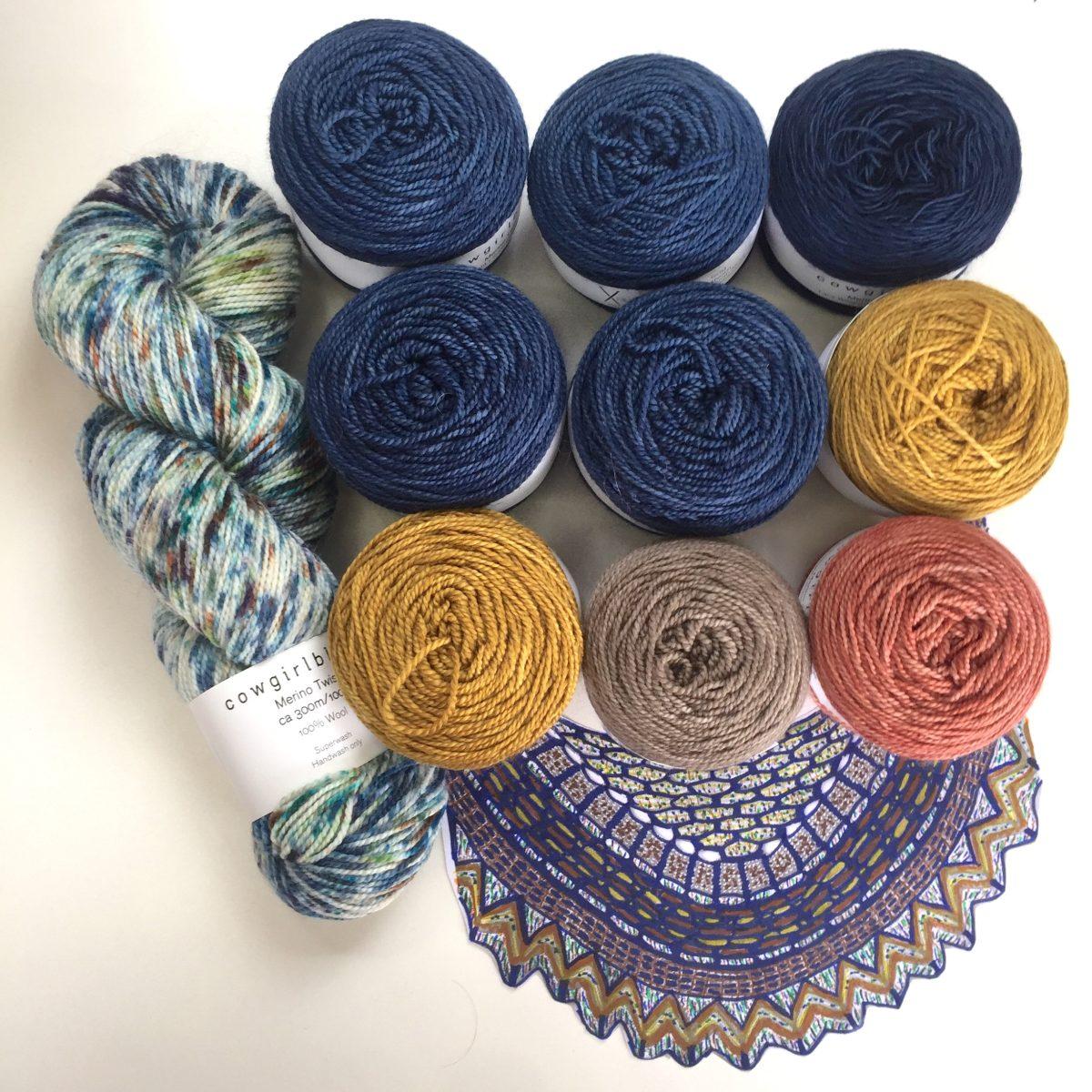Slipstravaganza Shawl knit kit in Indigo