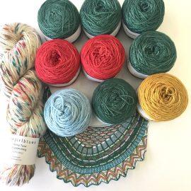 Slipstravaganza Shawl knit kit in Rainforest