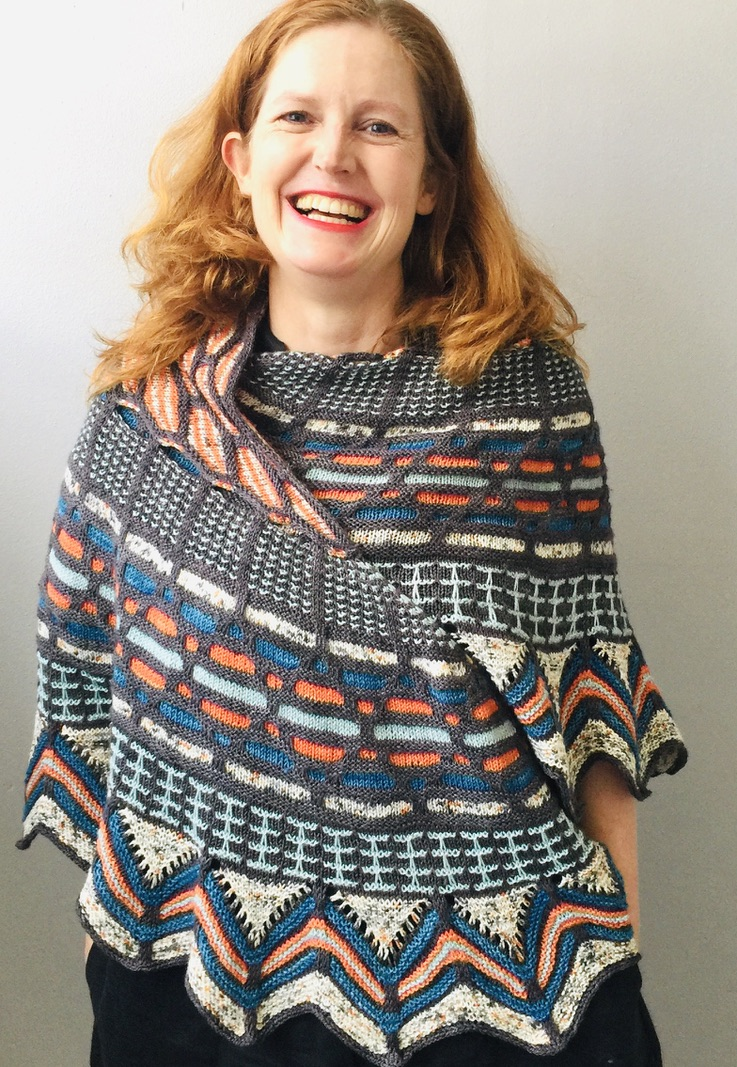 Bridget Henderson of Cowgirlblues wears her Slipstravaganza Shawl by Westknits