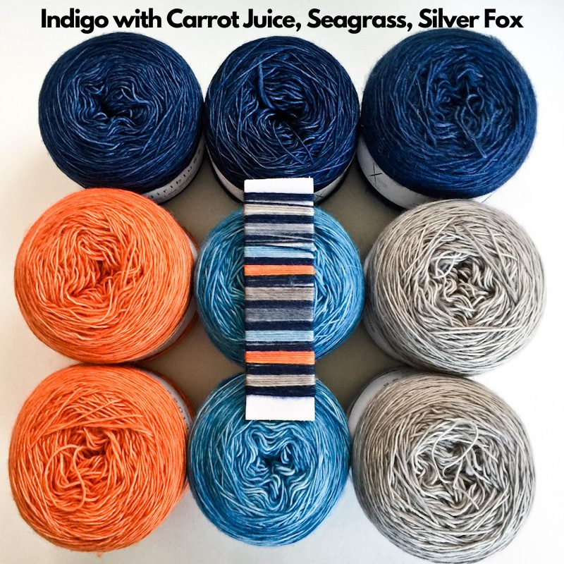 Cowgirlblues Merino Lace Single in Indigo, Carrot Juice, Seagrass and Silver Fox for the Slipstravaganza Shawl