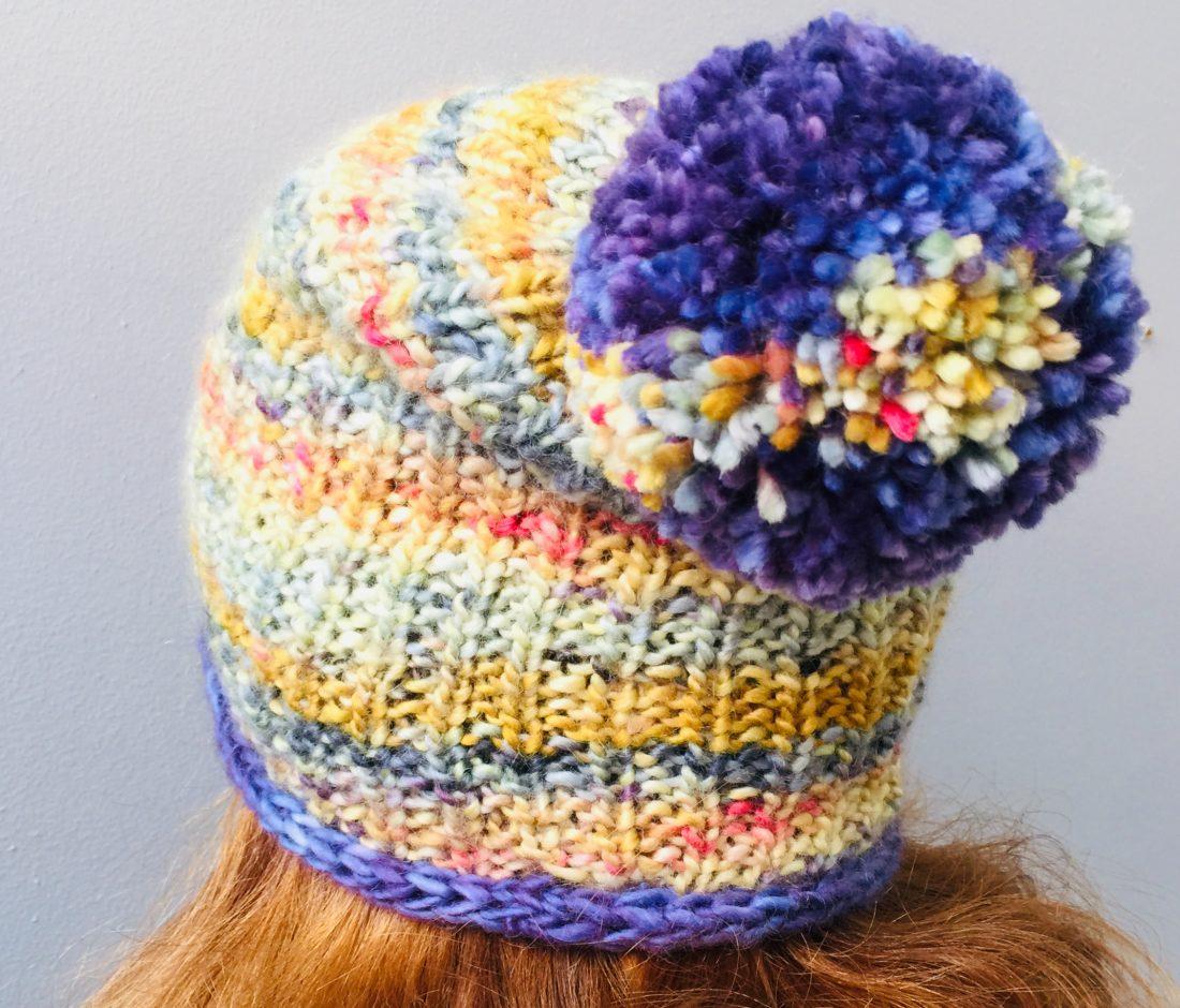 Next Level Beanie free knitting pattern, worn by Bridget Henderson