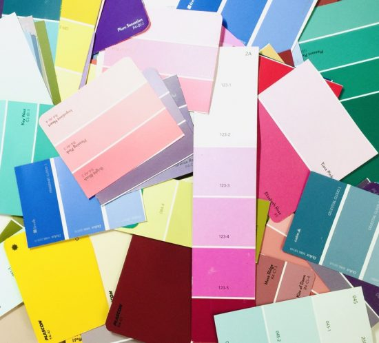 Paint colour chips in many different colours