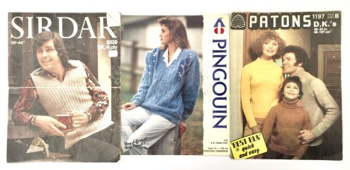 Sirdar, Pingouin, Patons knitting pattern covers from the 80s