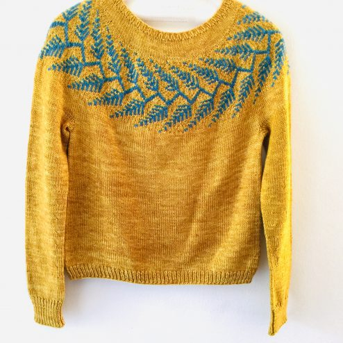 Forestland sweater by Jennifer Steingass in Cowgirlblues Merino DK