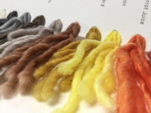 Cowgirlblues yarn colour palette in Aran Single base showing orange - yellow - to neutrals