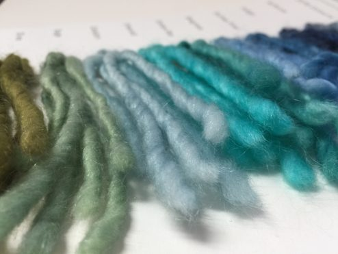 Cowgirlblues yarn colour palette in Aran Single showing olive green - emerald - blues