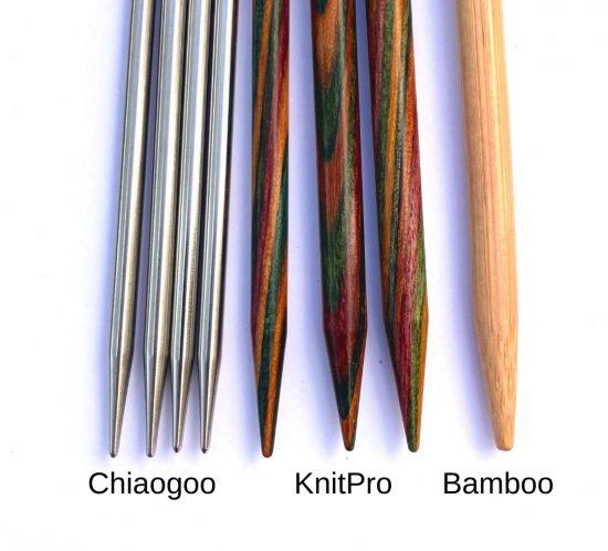 Chiaogoo KnitPro and regular bamboo knitting needle tips in a row