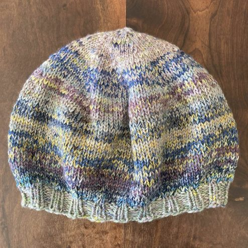Marled knit Bereanie, showing how to change the colour of your Cowgirlblues yarn, the style is a combination of a beret and a beanie