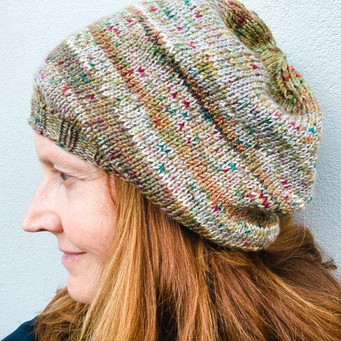 Bridget wears a Basic Bereanie knit in Cowgirlblues Merino Twist