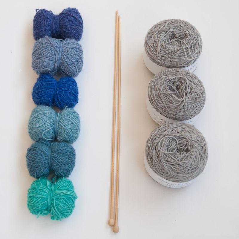 Beautiful blues knit kit
