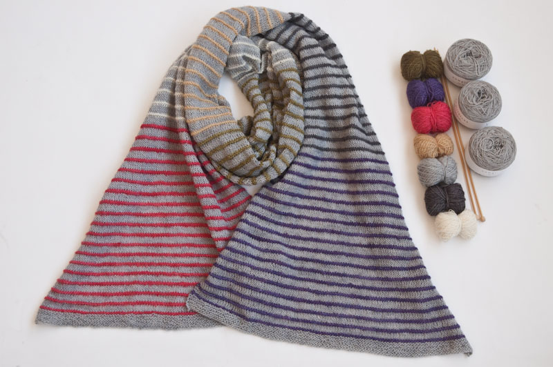 Knit kit pattern combination pin-stripe scarf