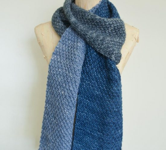 Cowgirlblues double moss stitch colour block scarf