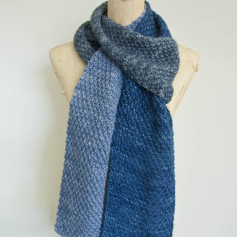 476ef5567633 Pattern  Double Moss Stitch Colour Blocked Scarf • cowgirlblues