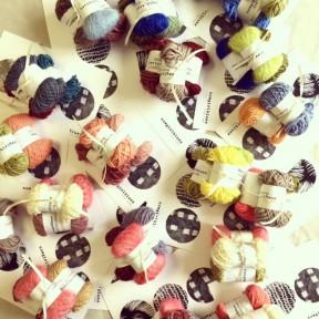 cowgirlblues yarn samples on display