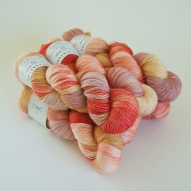 Merino Lace Skein - Caramel:Natural:RubyGrapefruit:Faded Rose