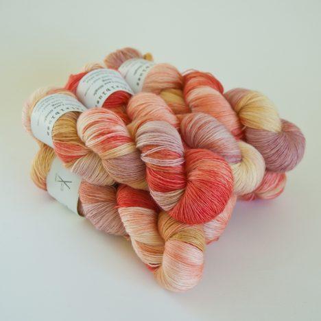 Merino Lace Skein - Caramel:Natural:RubyGrapefruit:Faded Rose