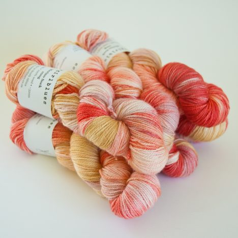 Merino Sock Skein - Caramel:Natural:RubyGrapefruit:Faded Rose