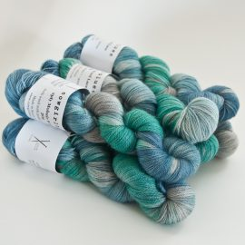 MohairWool Lace Guinea Fowl-Emerald-Seagrass-SilverFox