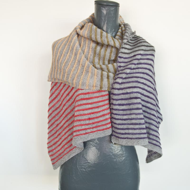 Pin-Stripe knit scarf or shawl free pattern