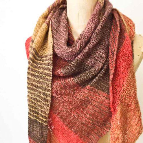 Merino wool hand dyed sideways knit shawl
